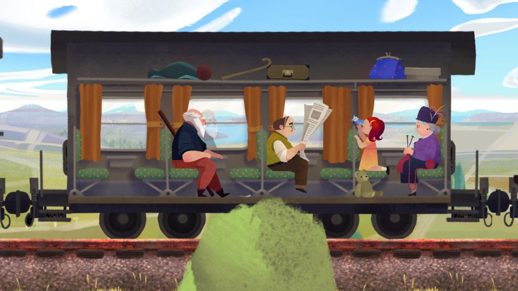 train ride screen shot from Old Man's Journey