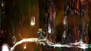 Screenshot of Zidane in the crystal world portion of Final Fantasy IX
